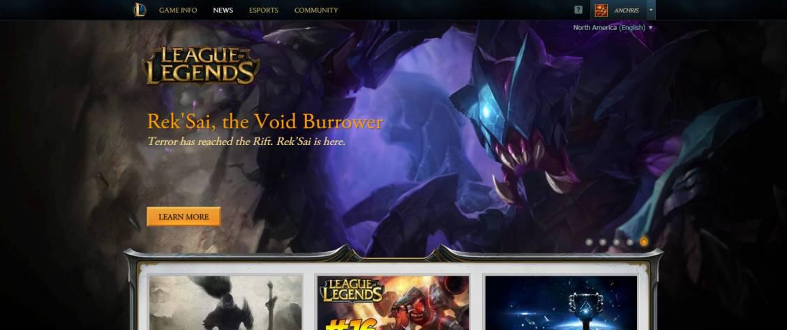 Riot améliore la barre de login du site